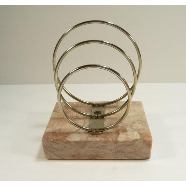 Vintage Retro Mid-Century Letter Organizer Chrome Rings on Marble - Image 3 of 7