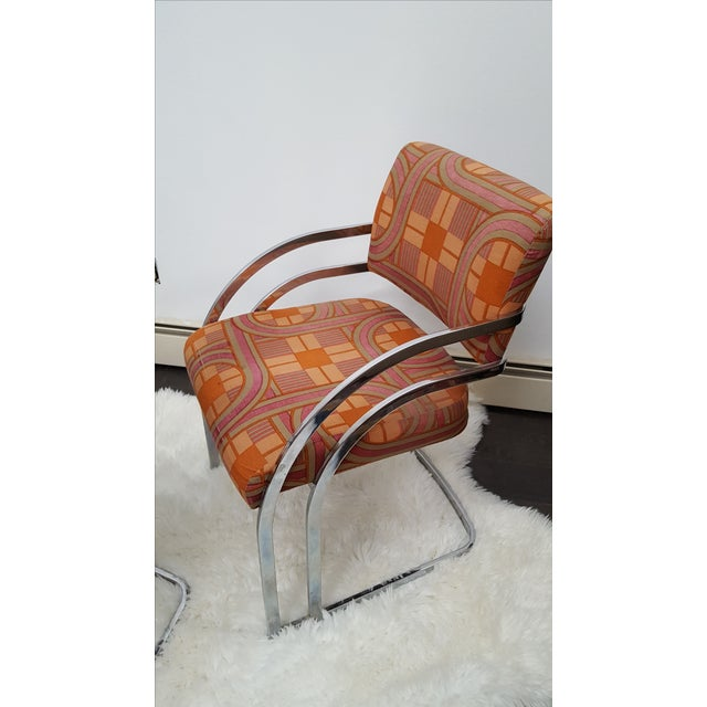 Milo Baughman Style 1970's Deco Style Chrome Framed Chairs - Set of 4 - Image 7 of 8