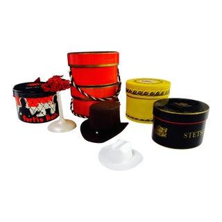 Miniature Stetson Salesman Sample Box Hat - 9 Pcs
