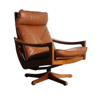 Vintage Norwegian Leather Reclining Chair
