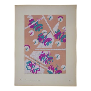 Vintage Serge Gladky Ltd. Ed. Pochoir Print-Abstracted Butterflies c.1928