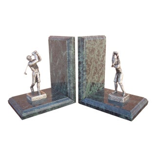 Marble Bookends With Golfers - A Pair
