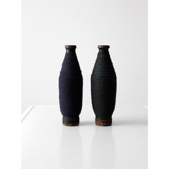 Antique Wooden Spools With Navy Thread - a Pair - Image 2 of 7