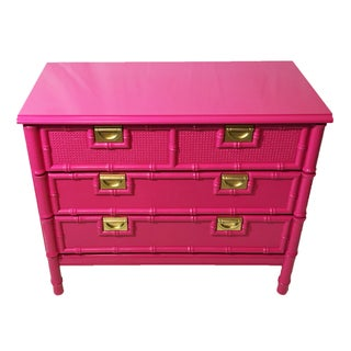 Vintage Faux-Bamboo Pink Chest of Drawers