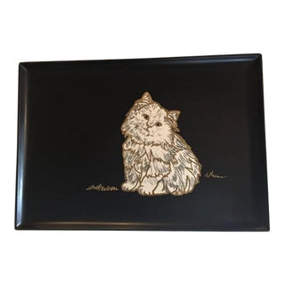 "Couroc Mid-Century ""Purrfect Kitty"" Serving Tray"
