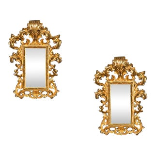 Pair of Antique French Baroque Giltwood Mirrors circa 1900