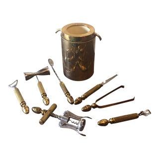 Vintage Brass Bar Set With Wine Chiller - Set Of 8