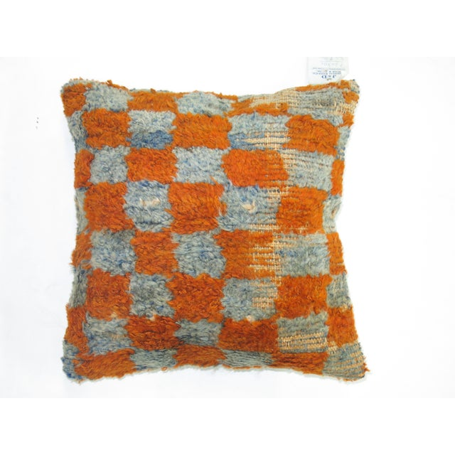 Turkish Orange & Teal Tulu Rug Pillow