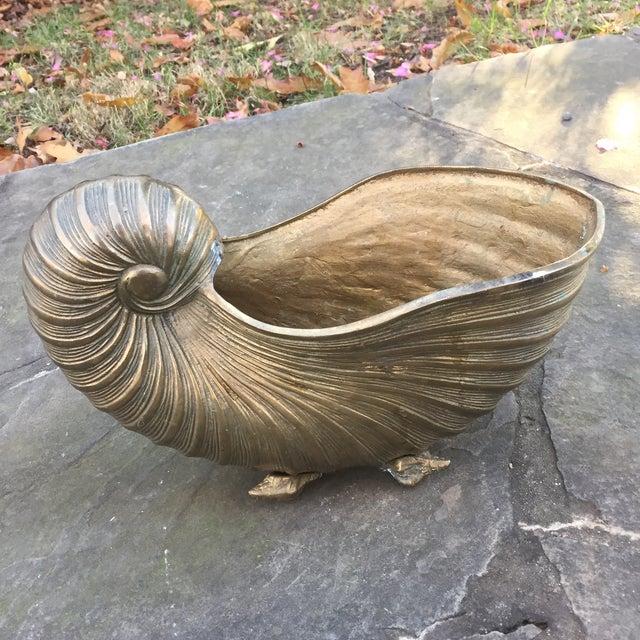 Vintage Brass Nautilus Shell Planter - Image 3 of 8