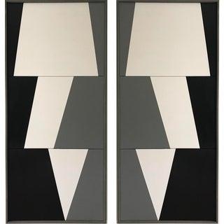 "Jason Trotter Original Acrylic Painting ""Tricolor Double Jagged Triptychs Jet0472"""