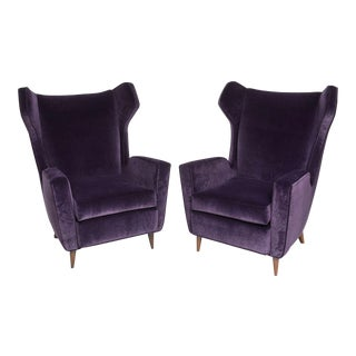 Pair of Wingback Armchairs in the Manner of Gio Ponti