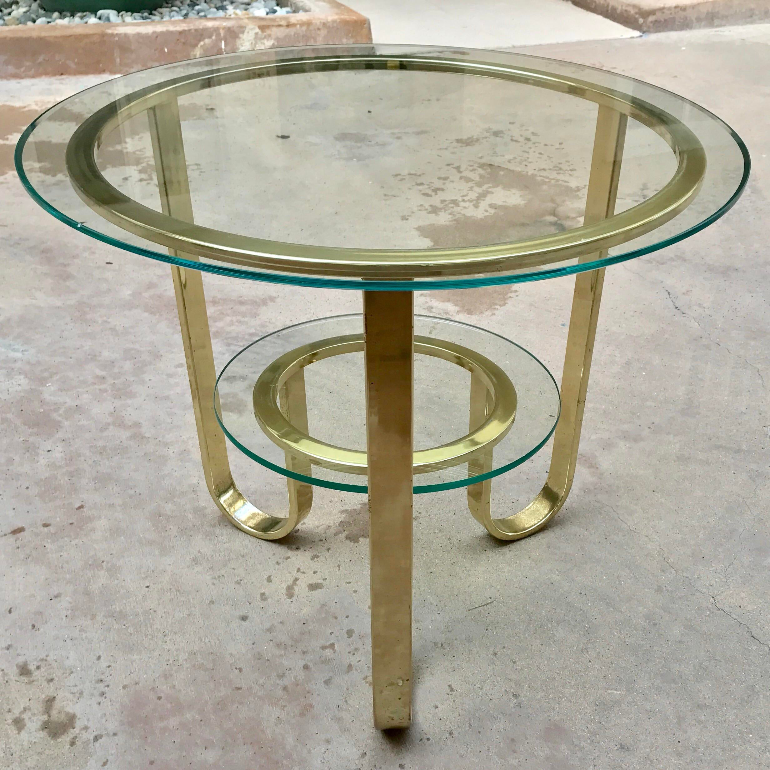 Captivating Milo Baughman For DIA Brass U0026 Glass Accent Table   Image 3 Of 10