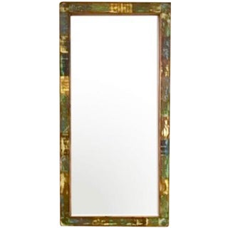 Reclaimed Solid Wood Antique Style Eco-Friendly Reclaimed Wood Floor Mirror