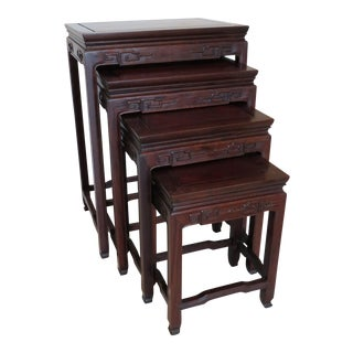Chinoiserie Rosewood Nesting Tables - Set of 4
