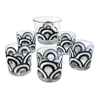 "Mid Century Set of 6 Signed ""Colony"" Black & White Rainbow Glasses and Ice Bowl"