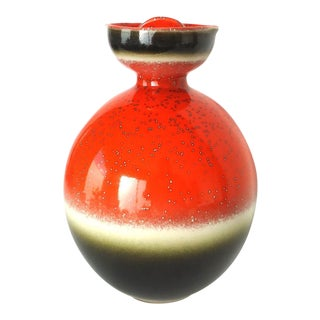 Mid-Century Modern Orange Pottery Decanter