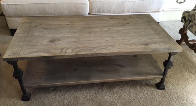 Rustic Gray Wash Wood & Iron Coffee Table