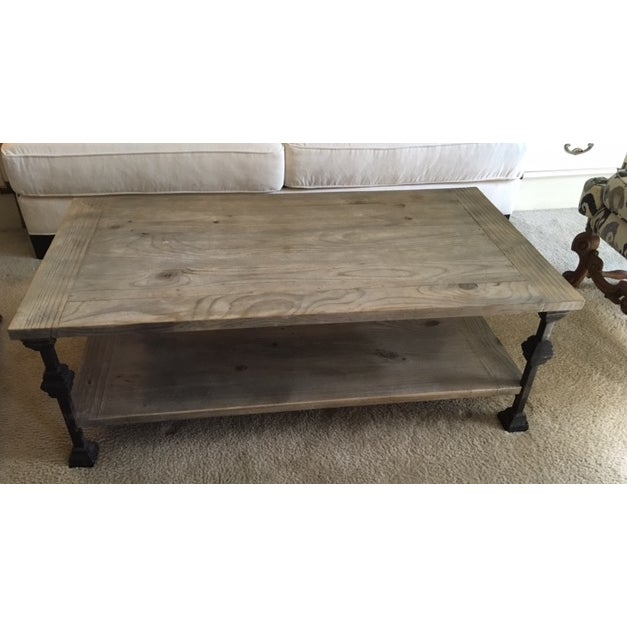 Rustic gray wash wood iron coffee table chairish for Gray wood and metal coffee table