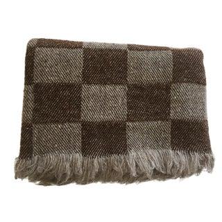 Brown Checkered Rhodope Wool Blanket