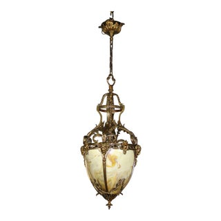 Cast Bronze Figural Rams Head Gilt Hall Lantern