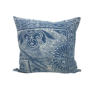 Vintage Chinese Indigo Batik Pillow