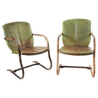 Vintage Metal Green Garden Chairs - A Pair