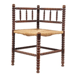 Antique Spindle Rush Seat Corner Chair