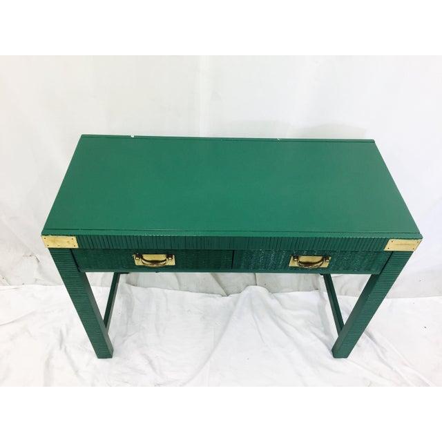 Vintage Mid-Century Campaign Green Desk - Image 10 of 11