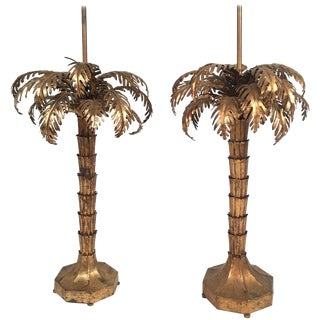 Matched Pair of Gilt Metal Palm Tree Lamps