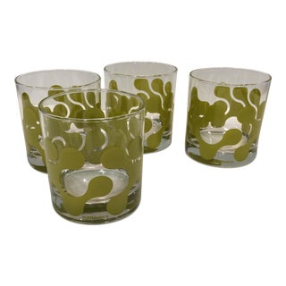 Op Art Avocado Green Lo-Ball Glasses - Set of 4
