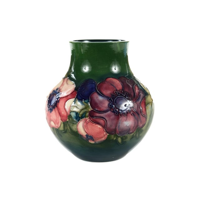 Moorcroft Green & Red Floral Pottery Art Vase - Image 3 of 9