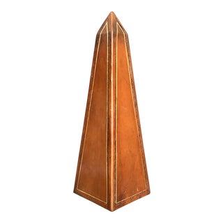 Vintage Leather & Gilt Obelisk