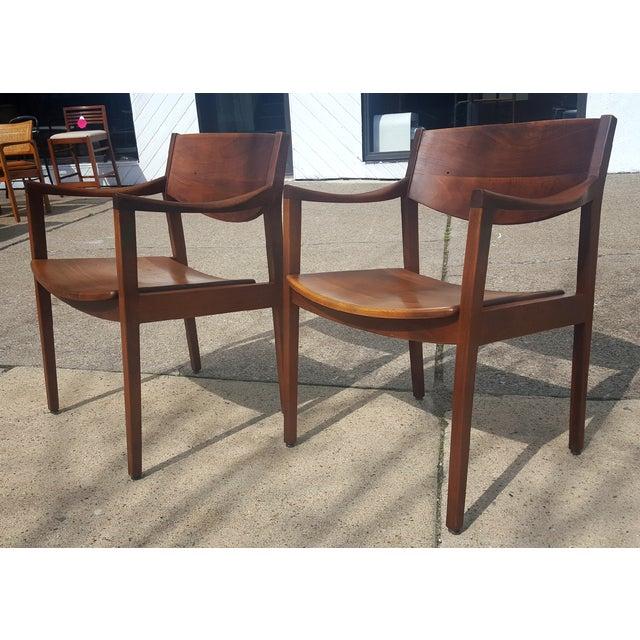 Mid-Century Walnut Gunlocke Chairs - Pair - Image 4 of 11