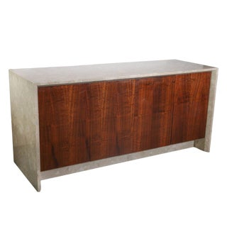 Custom Polished Travertine Marble and Rosewood Sideboard