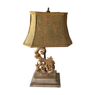 Antique Wood Gilt Fragment Lamp & Fortuny Shade