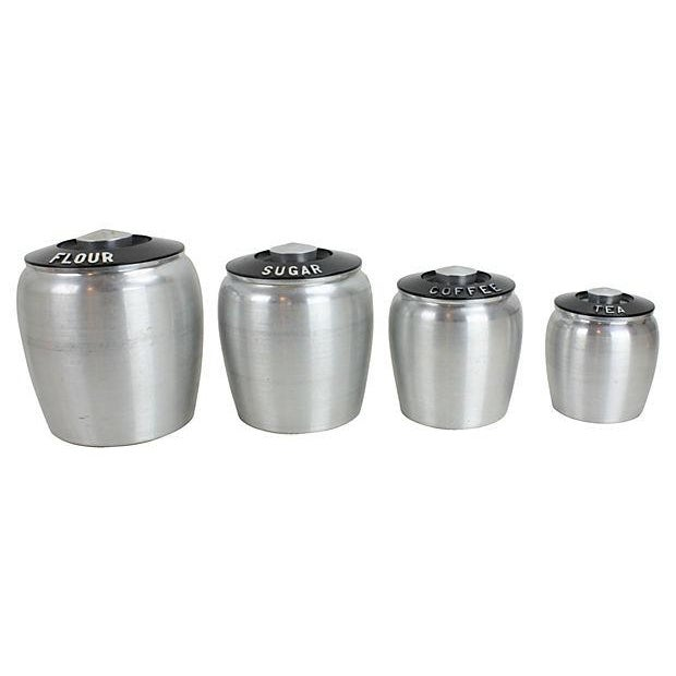 Vintage Bakelite & Aluminum Canisters - Set of 4 - Image 1 of 3