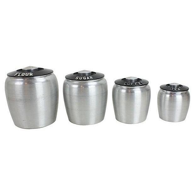 Image of Vintage Bakelite & Aluminum Canisters - Set of 4
