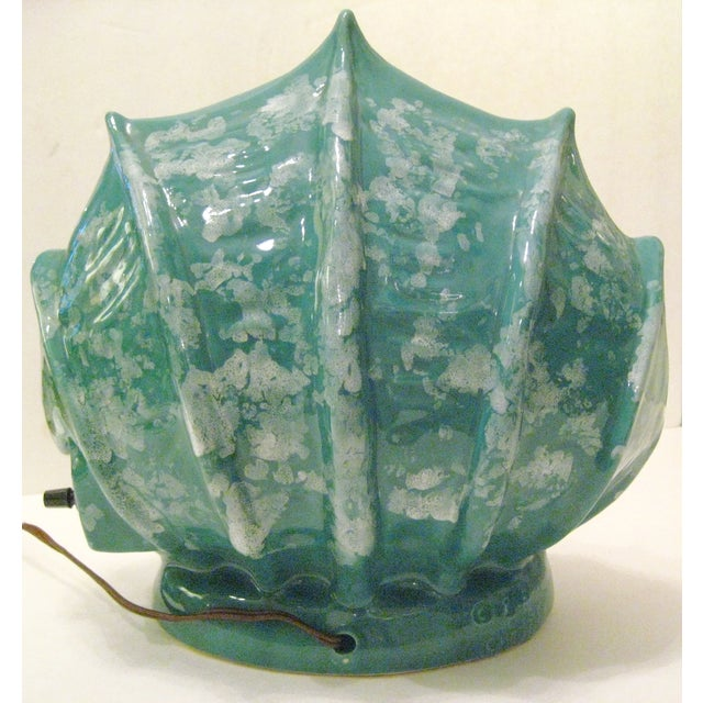 Turquoise Ceramic Shell Shape Table Lamp - Image 5 of 6