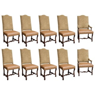 Upholstered Dining Chairs with Nailhead Trim - Set of 10