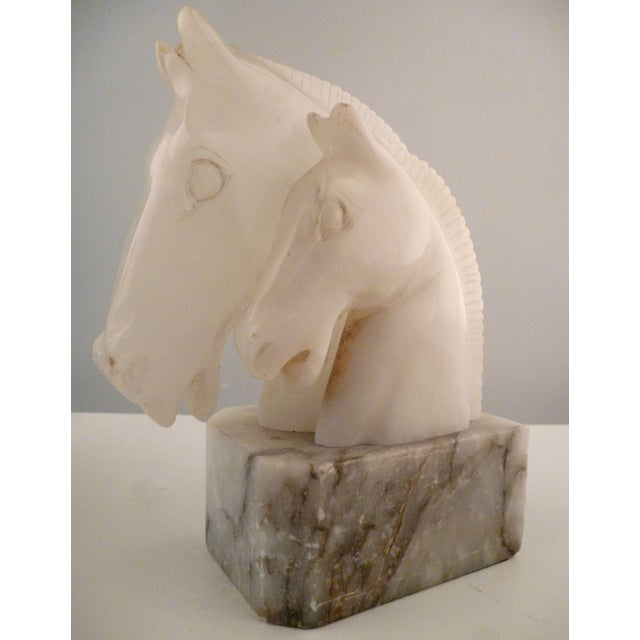 Image of Alabaster Horse Bookends on Marble Bases - Pair