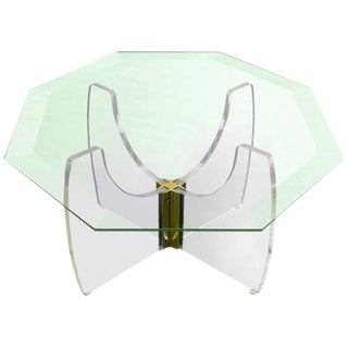 Pace Style Lucite Cocktail Table with Octagonal Glass Top