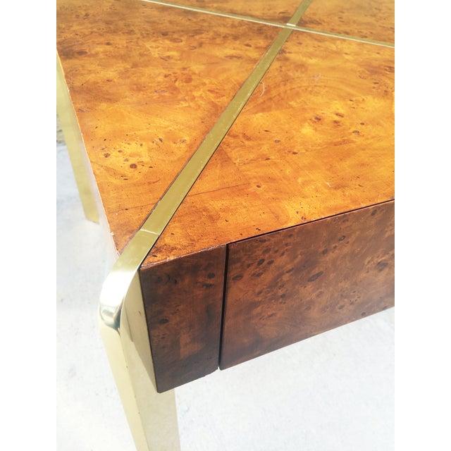 Milo Baughman Burlwood and Brass End Table - Image 5 of 9