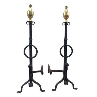 1800s Brass & Iron Andirons - A Pair