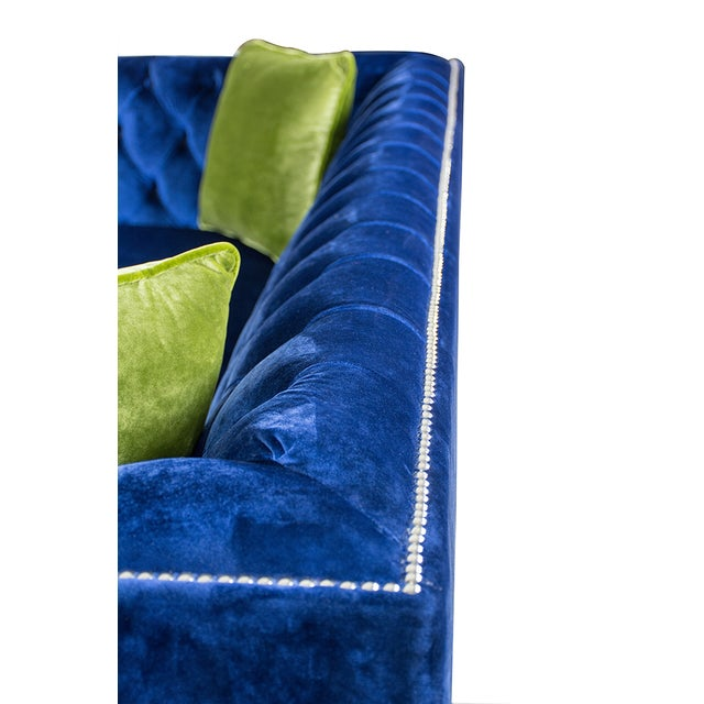 Pasargad Victoria Collecion Royal Blue Velvet Sofa - Image 4 of 7