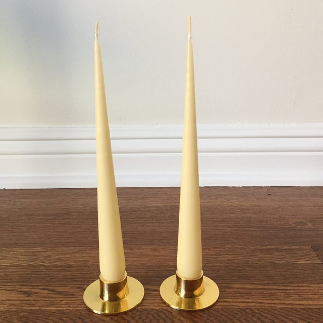 Brass Candlesticks & Ivory Tapered Candles - Image 2 of 4
