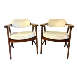 Mid-Century Modern Jerry Johnson Style Upholstered Armchairs - A Pair