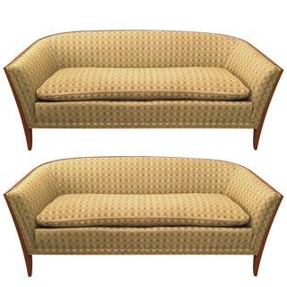 Pair of John Stuart Upholstered Fruitwood Sofas