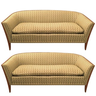 Pair of John Stuart Upholstered Fruitwood Sofas