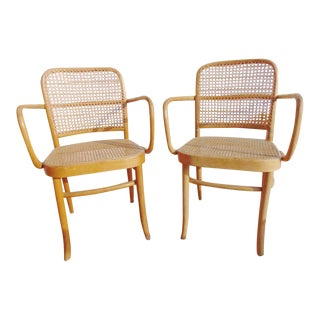 Thonet Bentwood & Cane Armchairs- A Pair