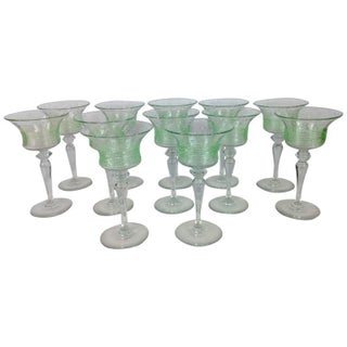 Art Deco Venetian Style Goblets - Set of 12